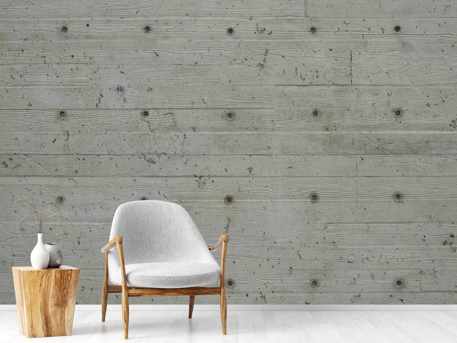Betonlook behang - Beton met hout look - Slaapkamer 18