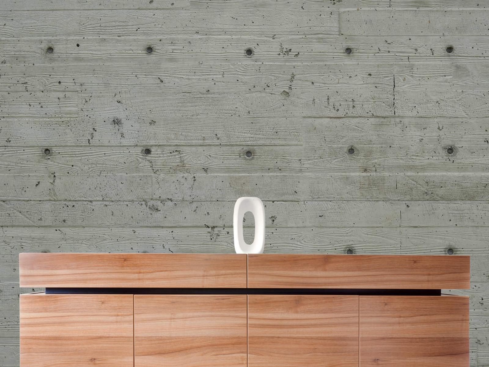 Betonlook behang - Beton met hout look - Slaapkamer 20