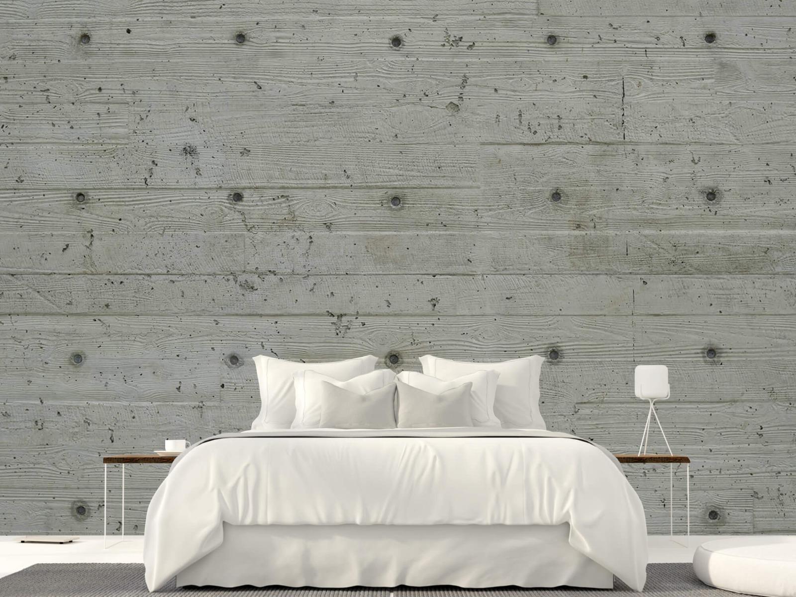 Betonlook behang - Beton met hout look - Slaapkamer 22