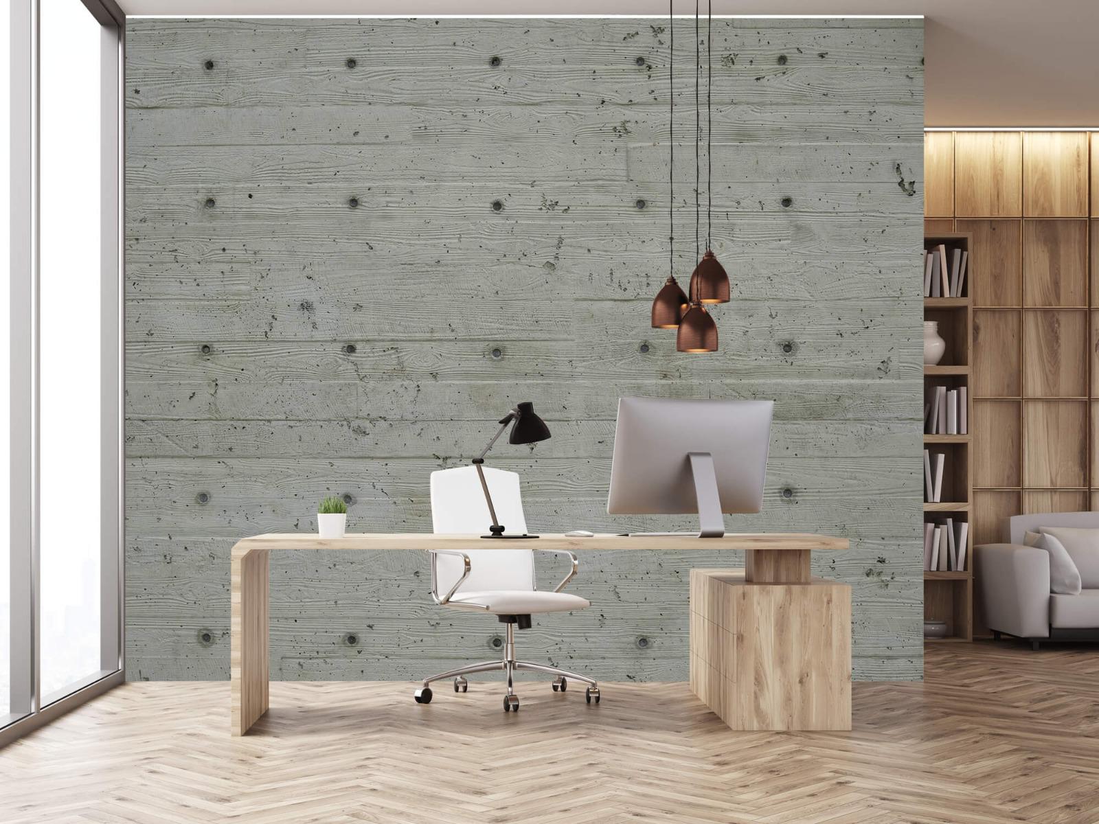 Betonlook behang - Beton met hout look - Slaapkamer 23