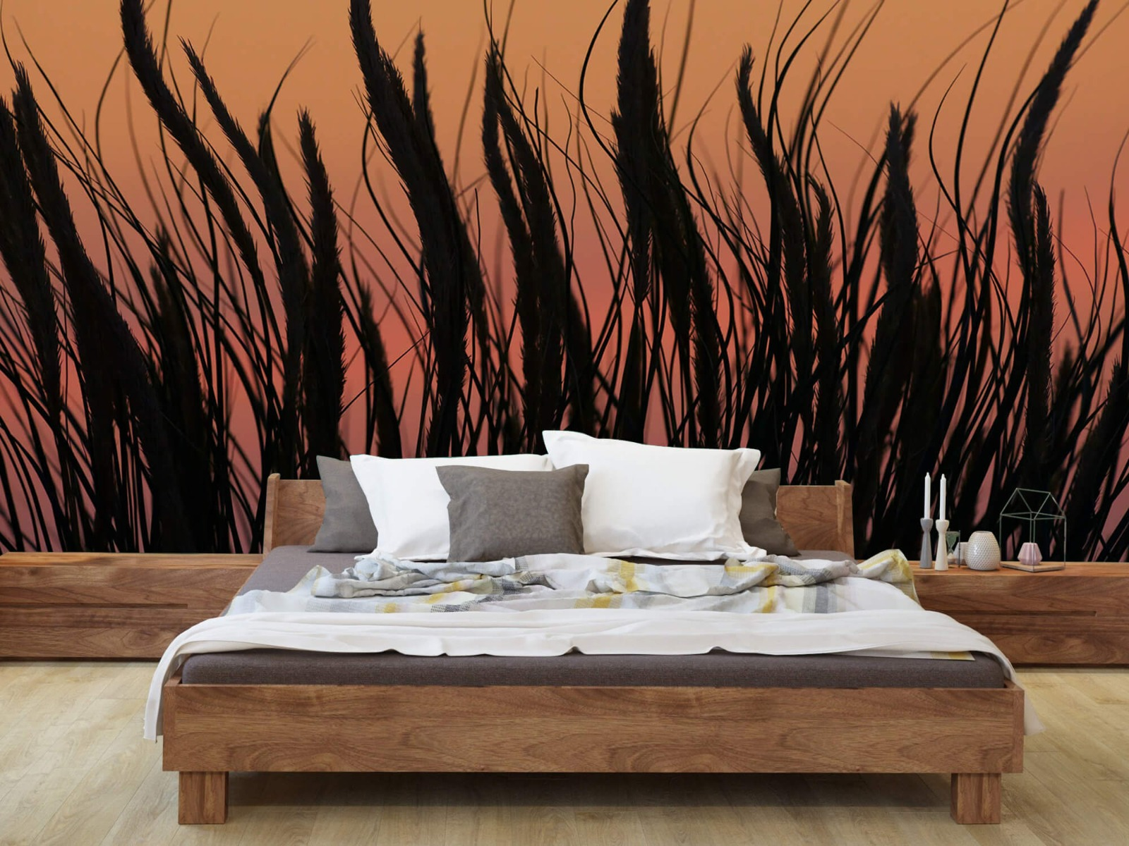 Zomer behang - Helmgras in de avond - Slaapkamer 7