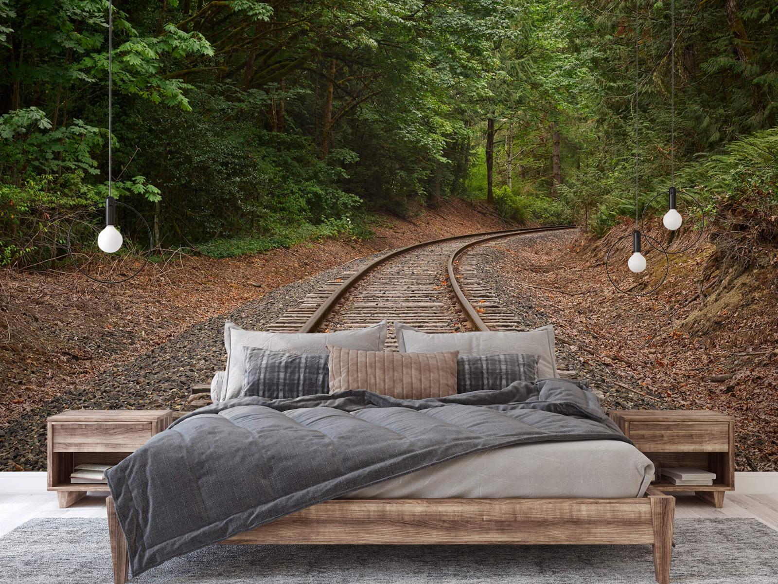 Bos behang - Spoorlijn door het bos - Slaapkamer 5
