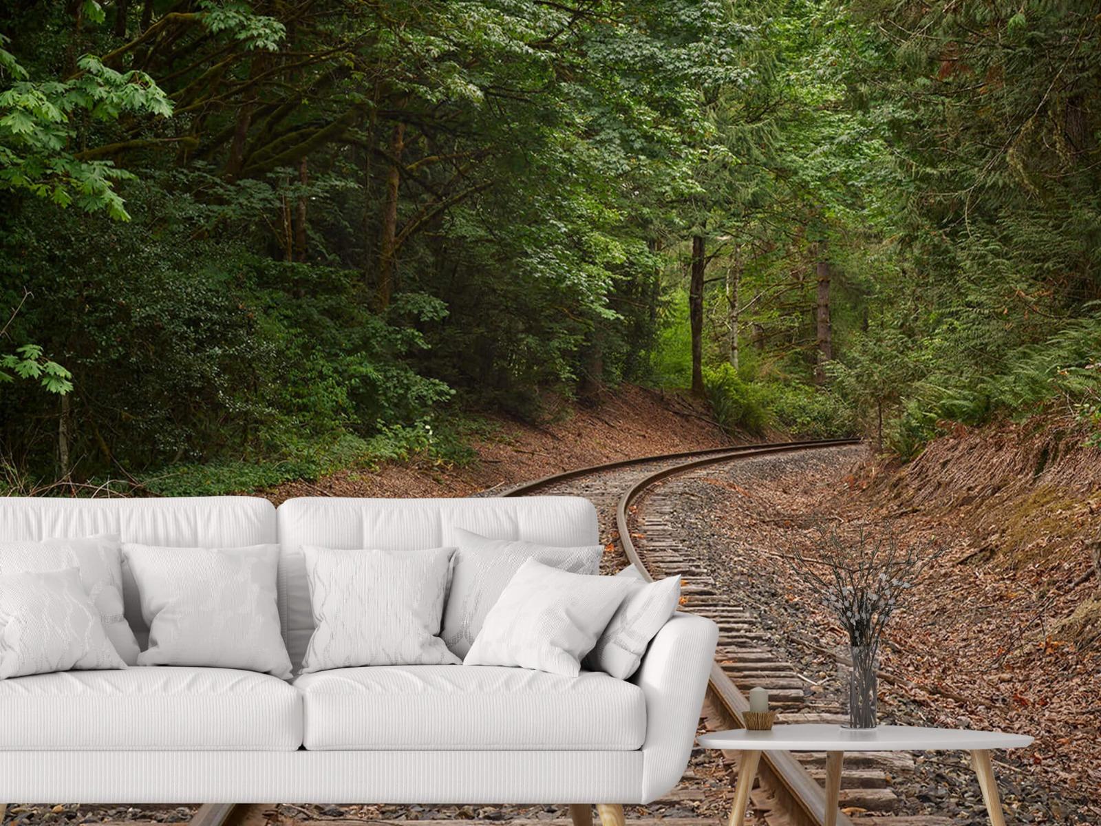 Bos behang - Spoorlijn door het bos - Slaapkamer 6