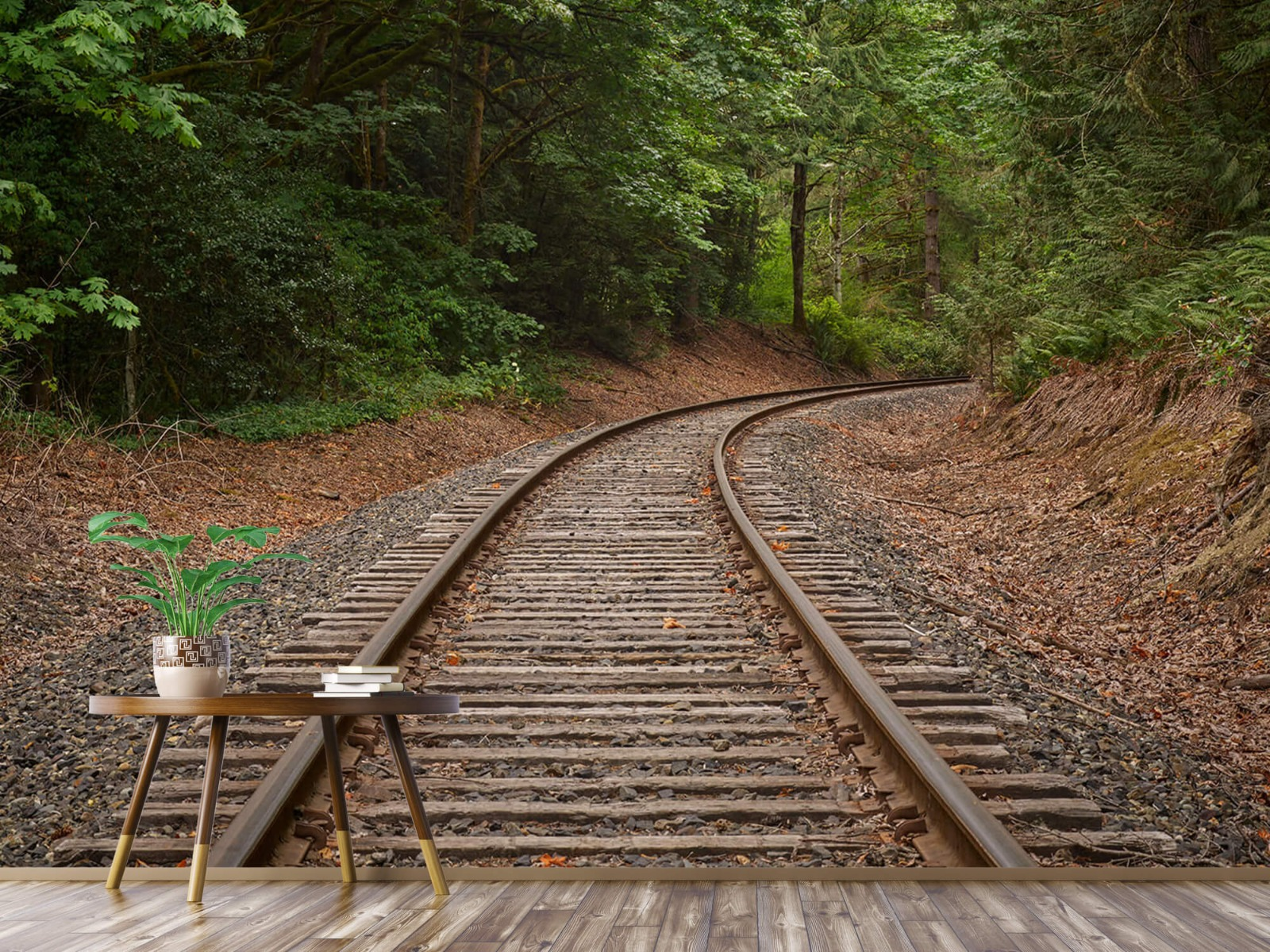 Bos behang - Spoorlijn door het bos - Slaapkamer 7