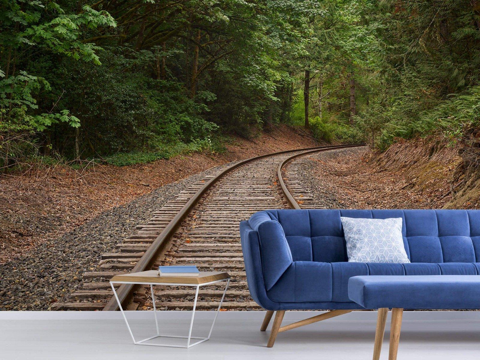 Bos behang - Spoorlijn door het bos - Slaapkamer 3