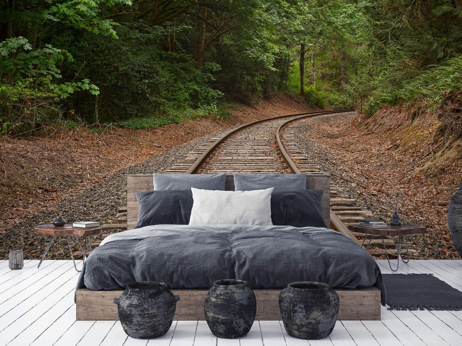 Bos behang - Spoorlijn door het bos - Slaapkamer 8