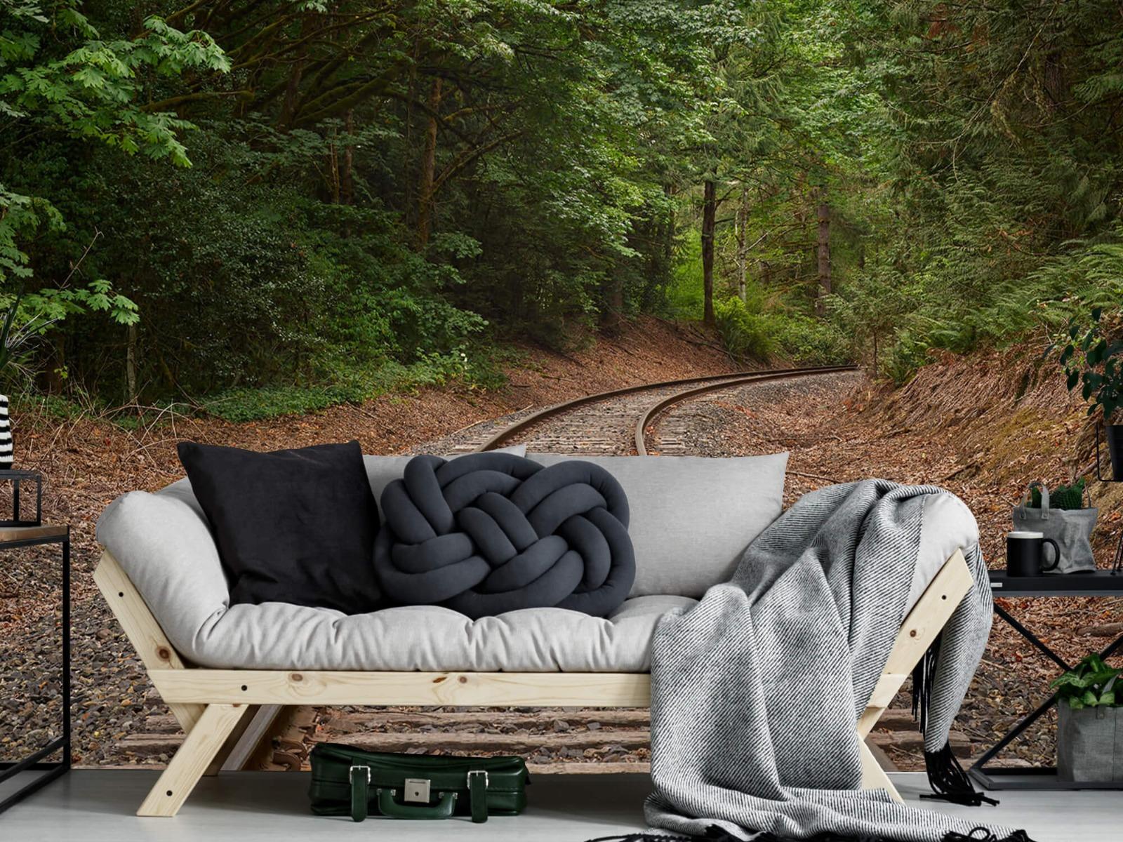 Bos behang - Spoorlijn door het bos - Slaapkamer 9