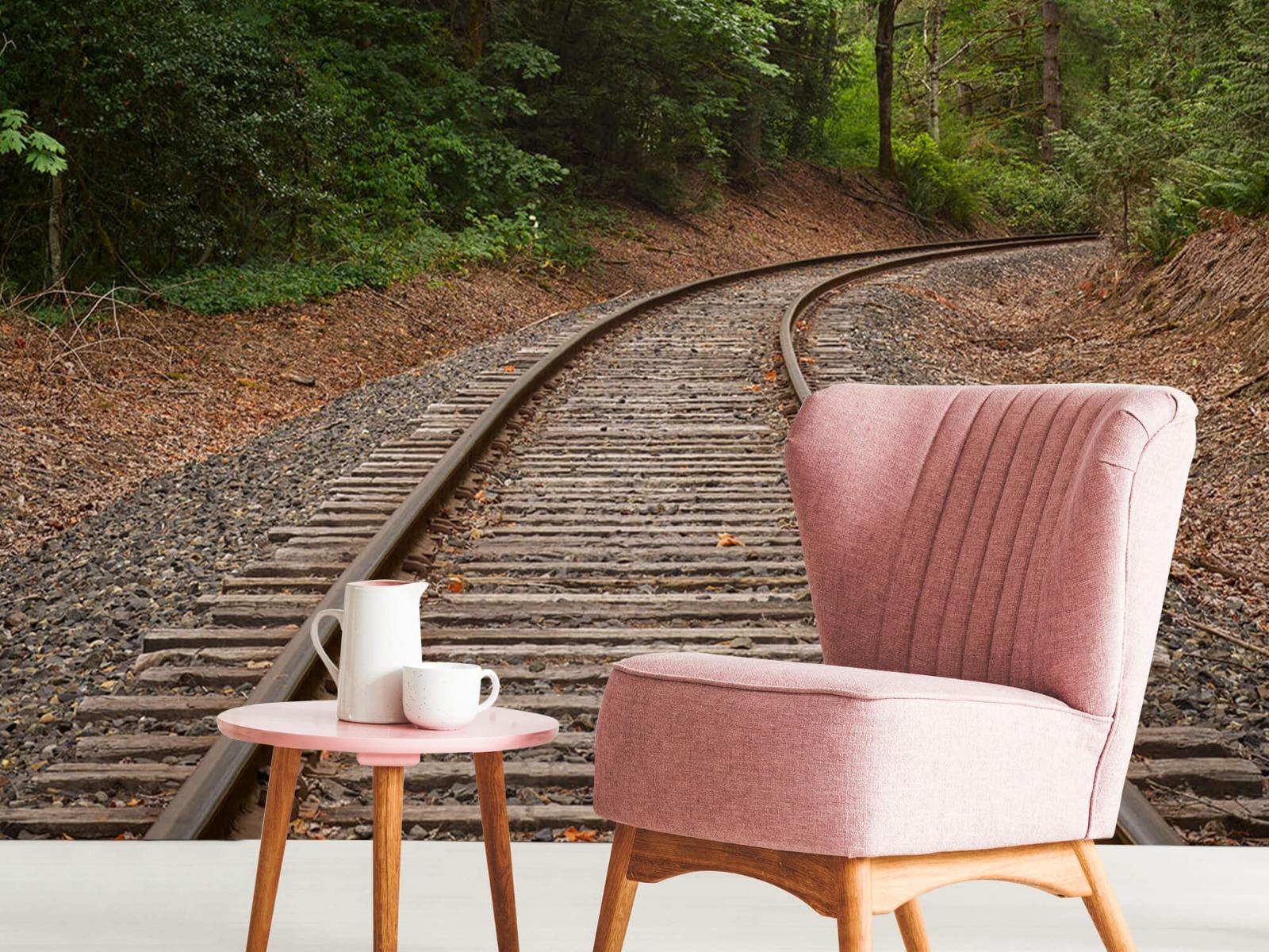 Bos behang - Spoorlijn door het bos - Slaapkamer 10