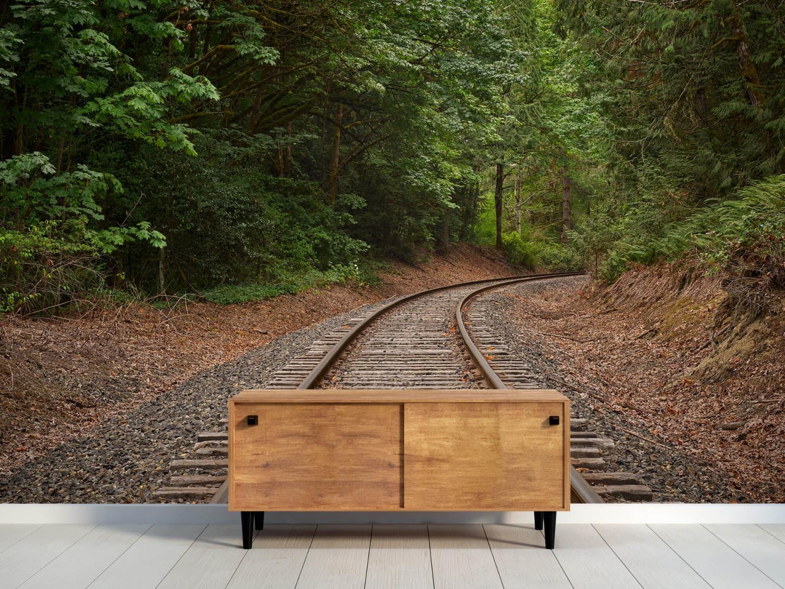 Bos behang - Spoorlijn door het bos - Slaapkamer 11