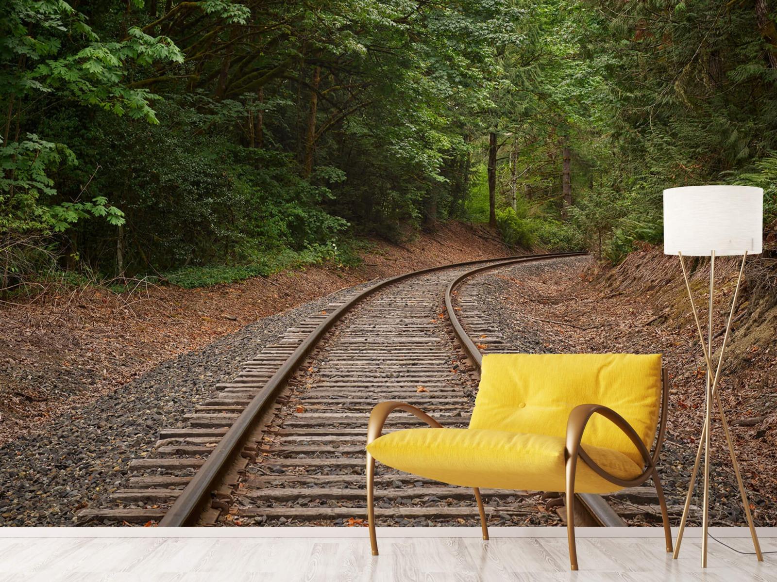 Bos behang - Spoorlijn door het bos - Slaapkamer 4