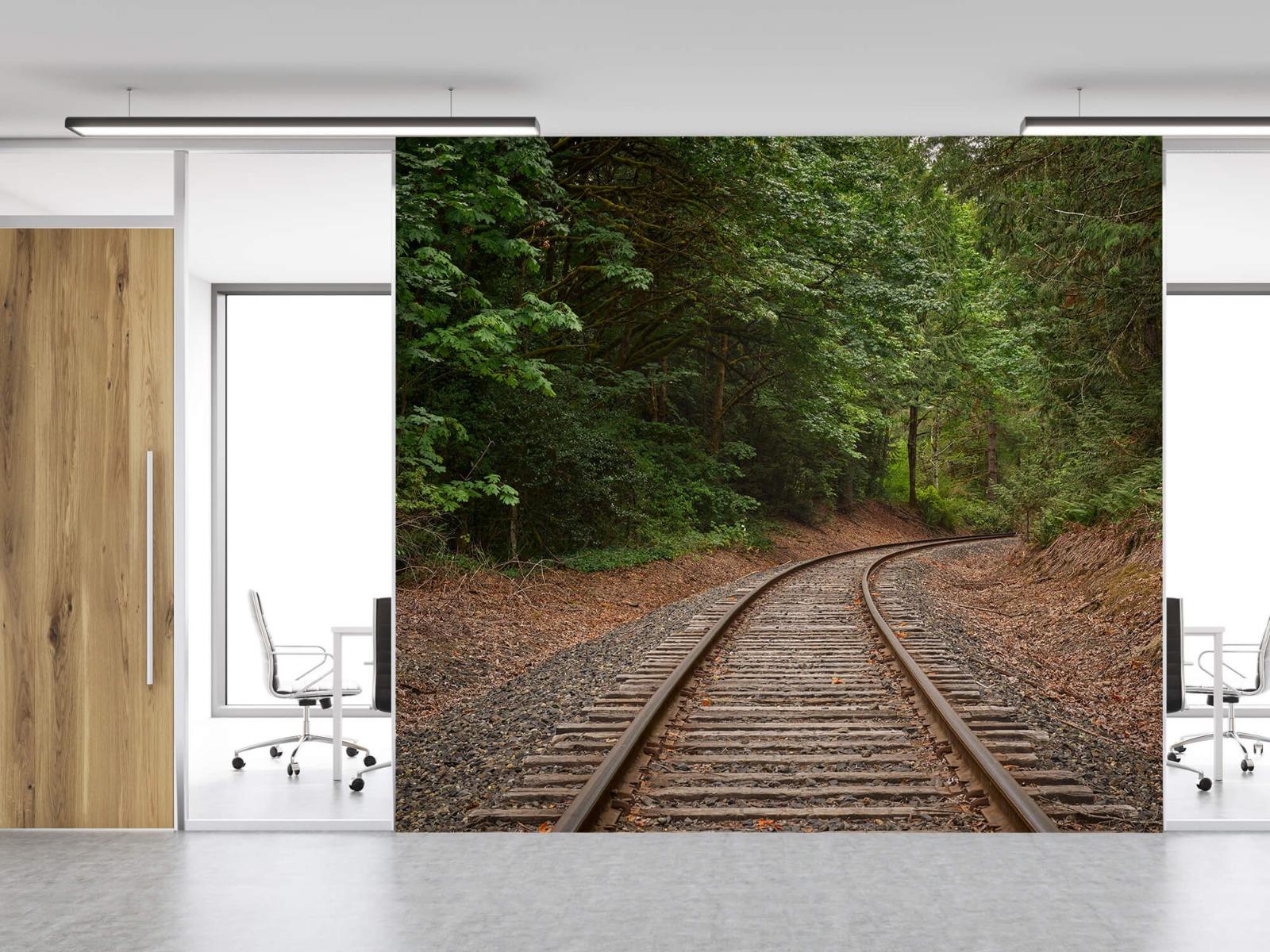 Bos behang - Spoorlijn door het bos - Slaapkamer 12