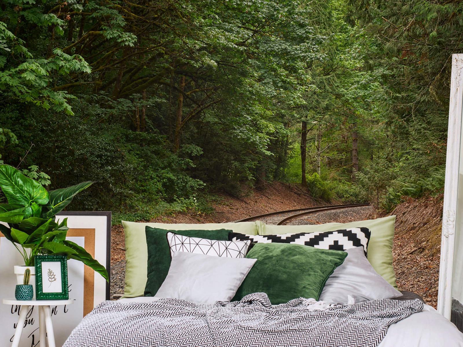 Bos behang - Spoorlijn door het bos - Slaapkamer 13