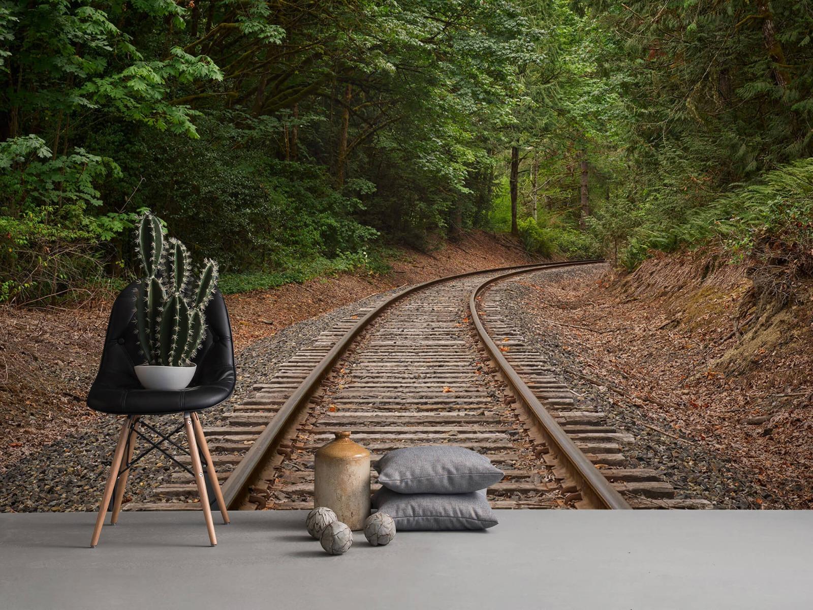 Bos behang - Spoorlijn door het bos - Slaapkamer 1