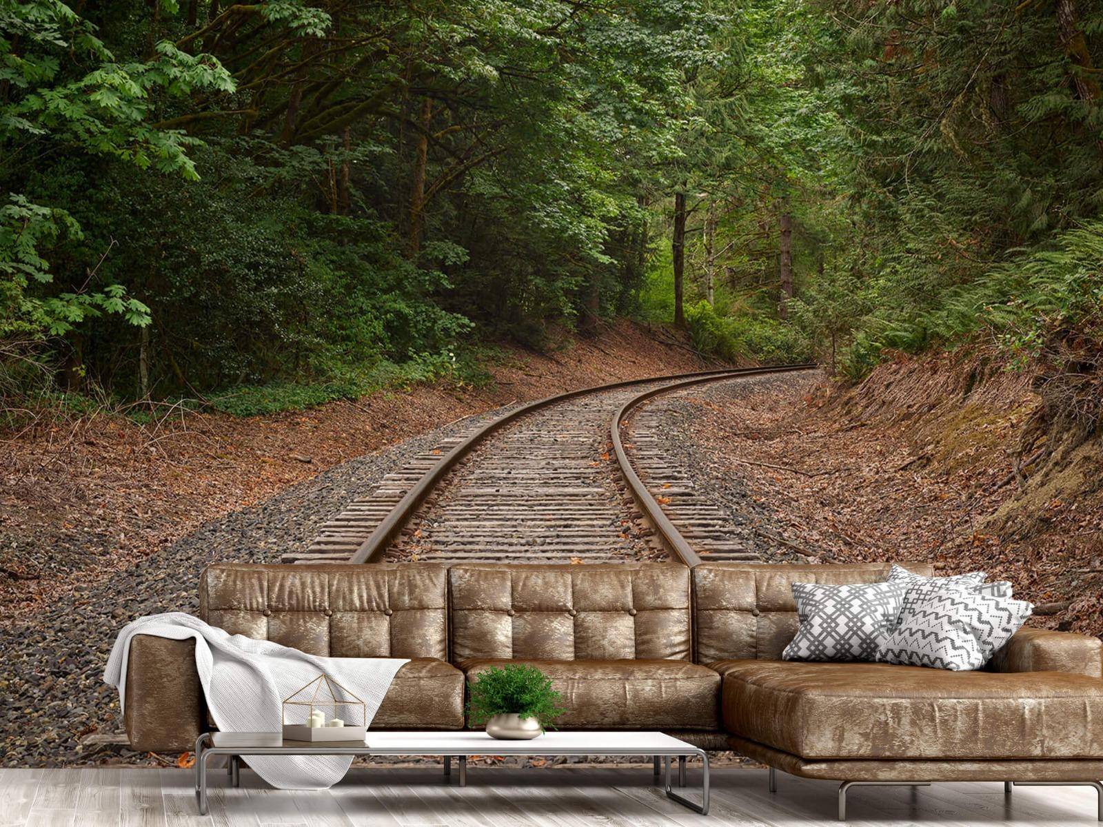 Bos behang - Spoorlijn door het bos - Slaapkamer 14