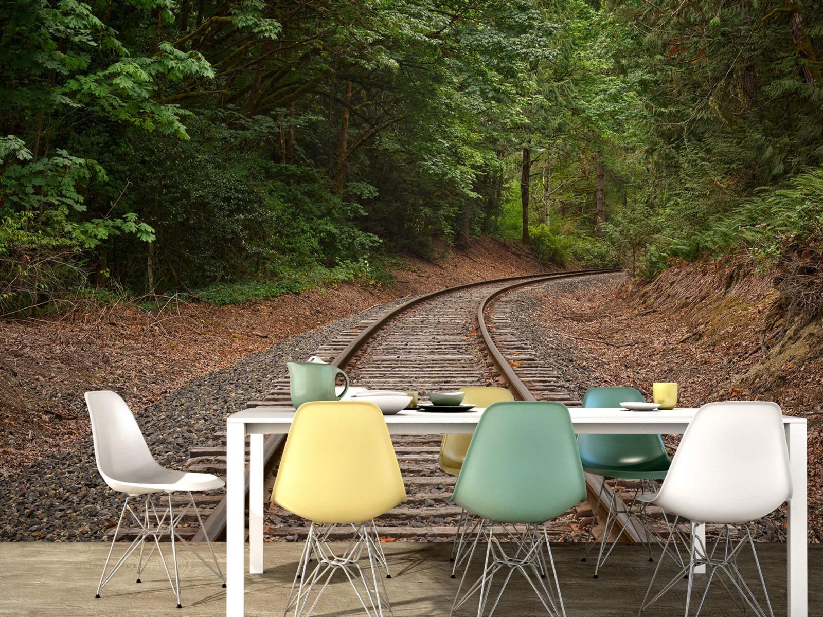 Bos behang - Spoorlijn door het bos - Slaapkamer 15