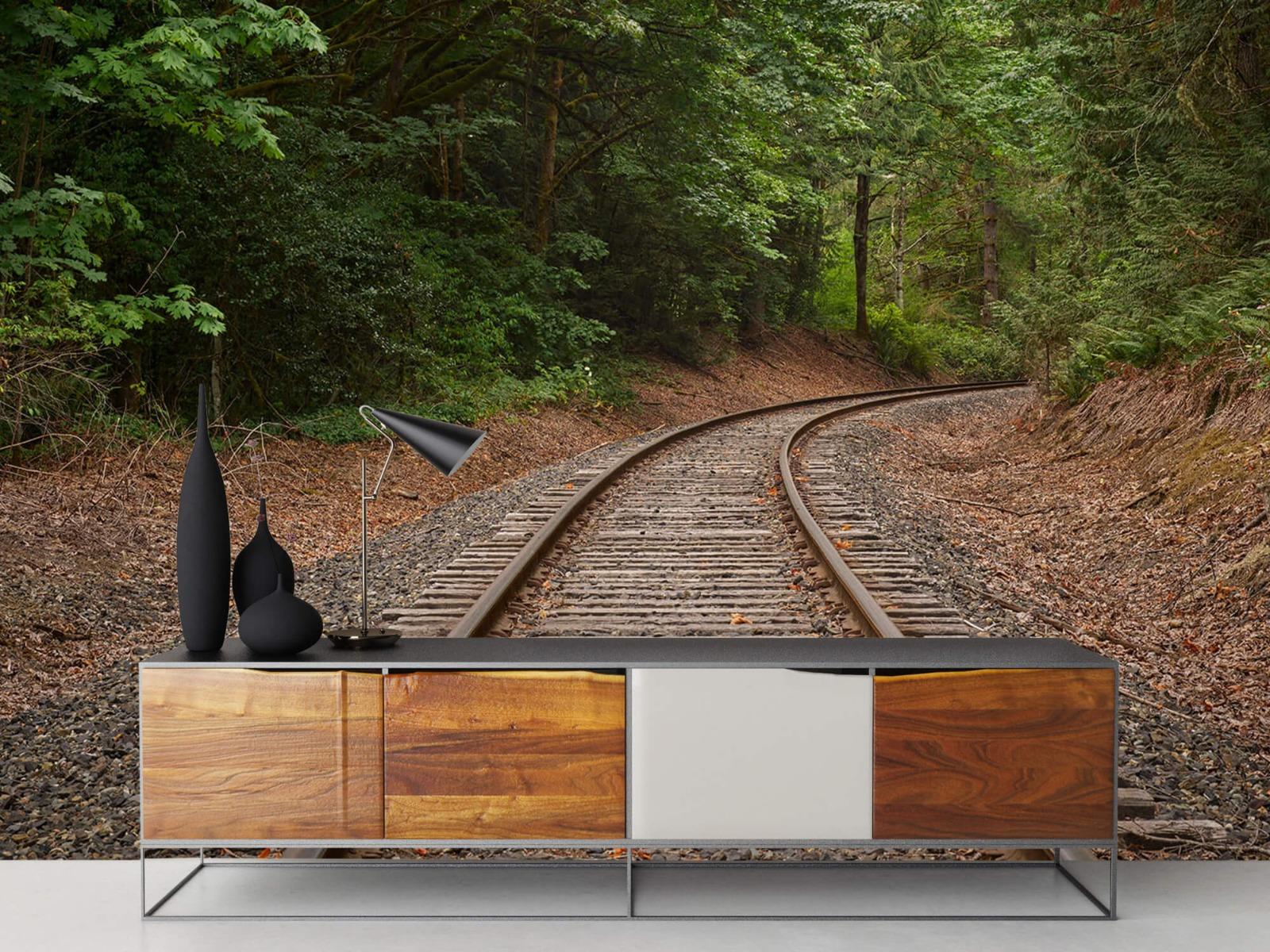 Bos behang - Spoorlijn door het bos - Slaapkamer 16