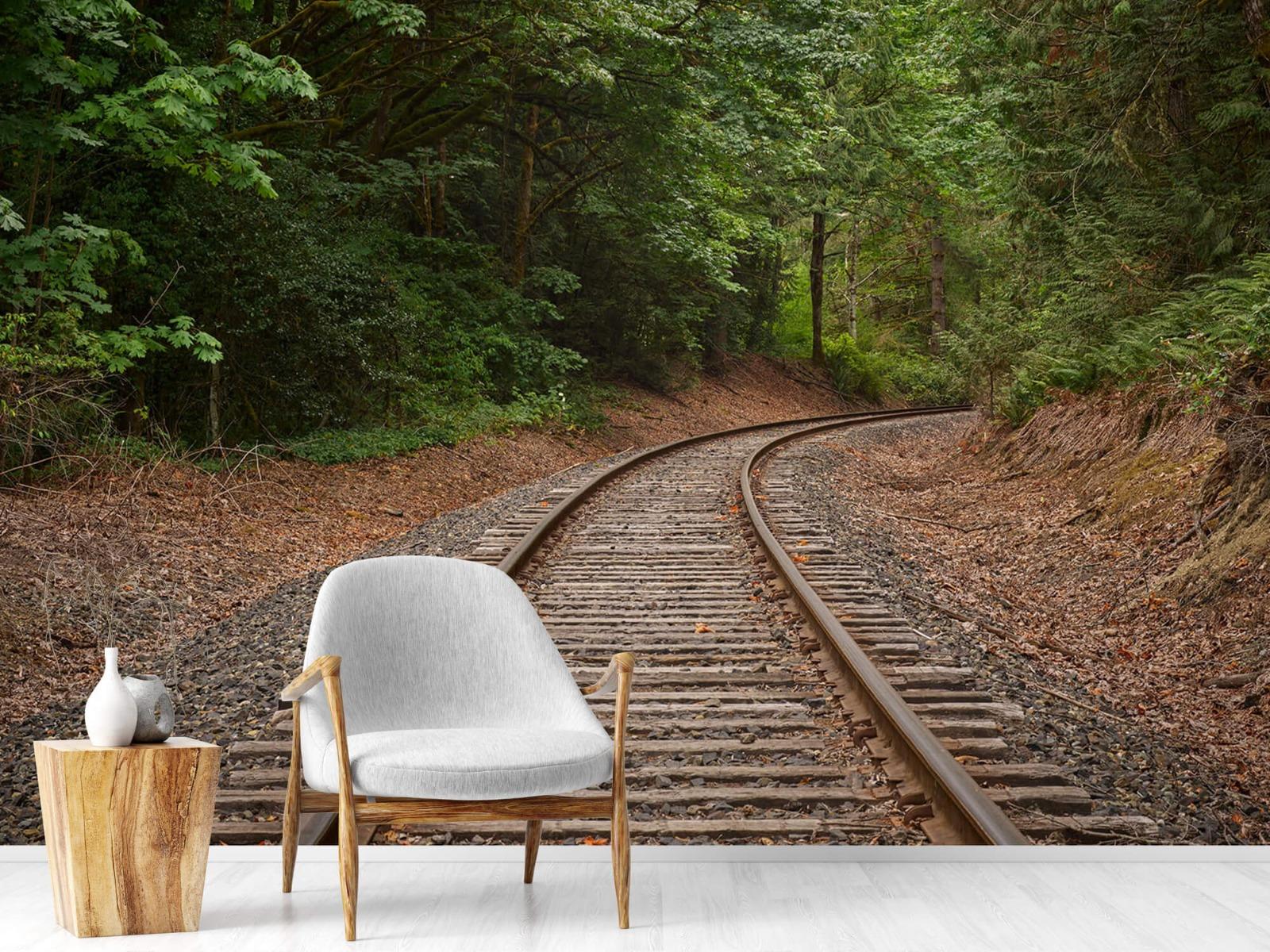 Bos behang - Spoorlijn door het bos - Slaapkamer 18