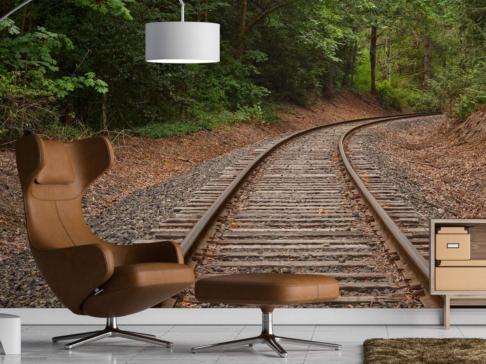 Bos behang - Spoorlijn door het bos - Slaapkamer 19