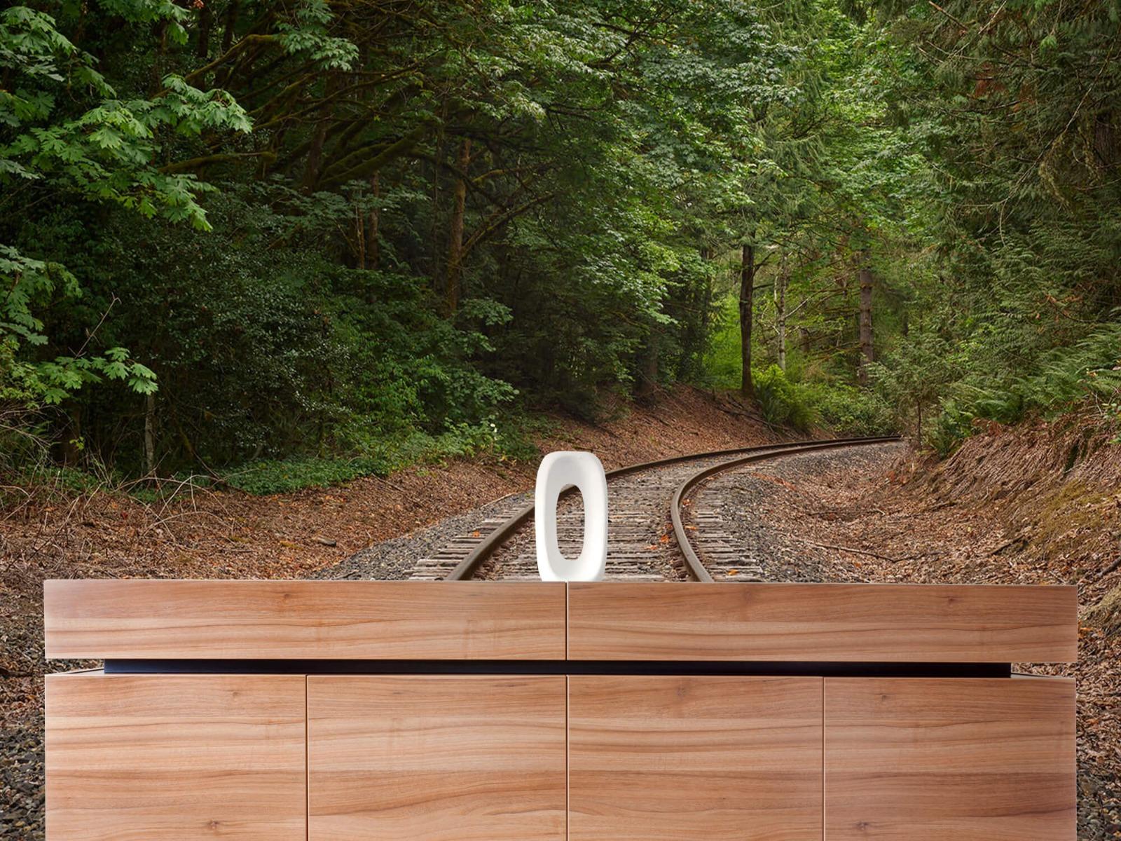 Bos behang - Spoorlijn door het bos - Slaapkamer 20