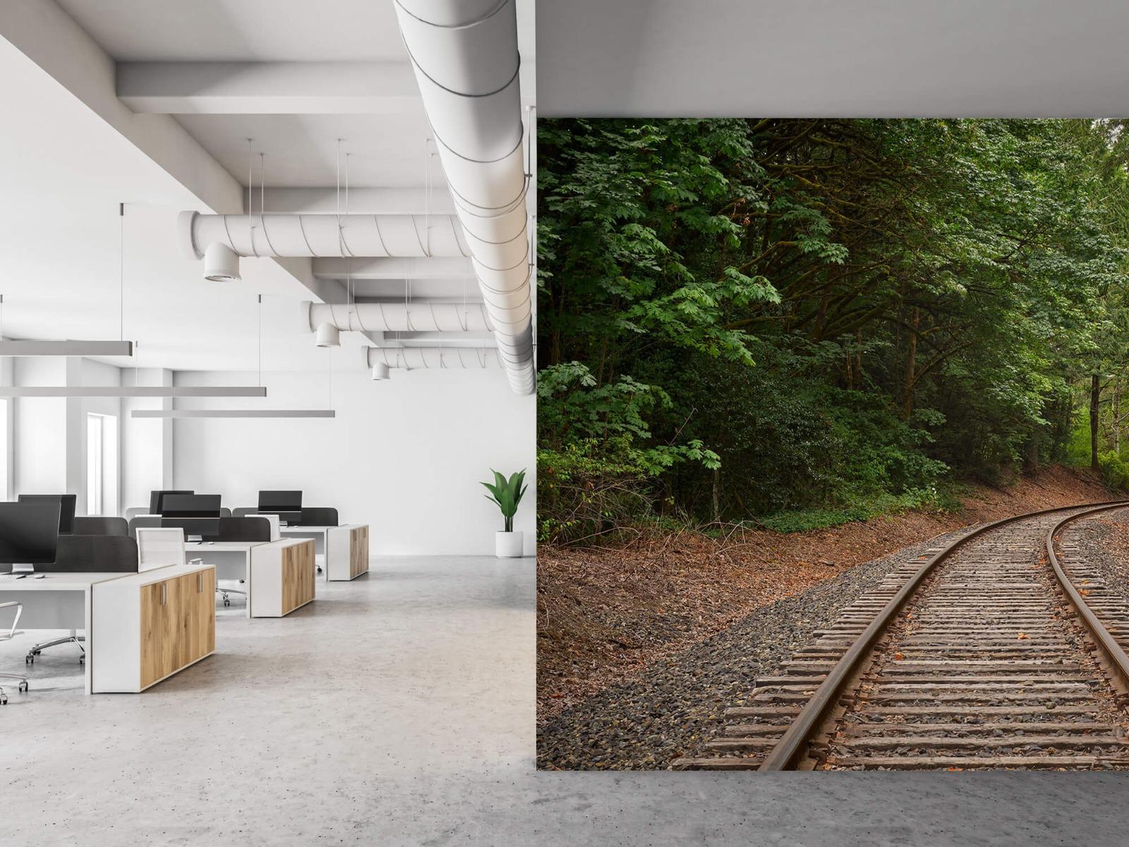Bos behang - Spoorlijn door het bos - Slaapkamer 21