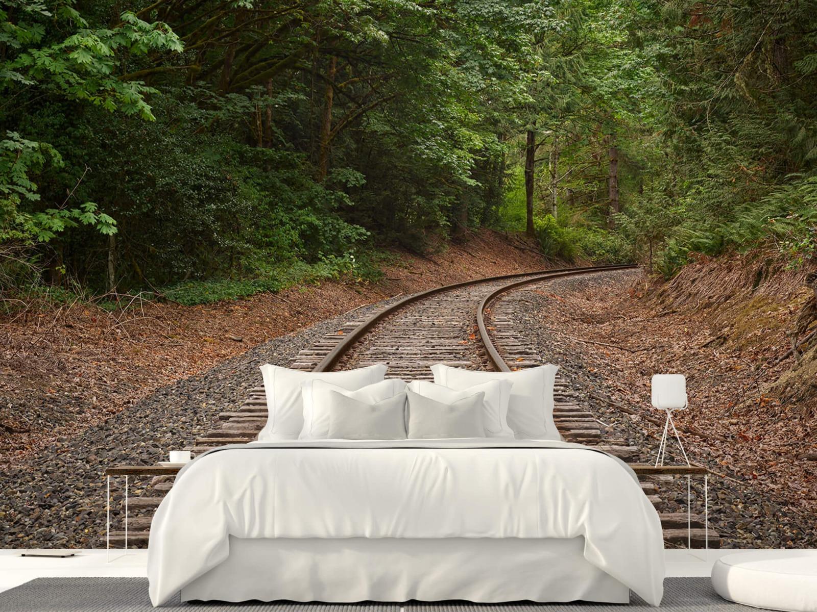 Bos behang - Spoorlijn door het bos - Slaapkamer 22