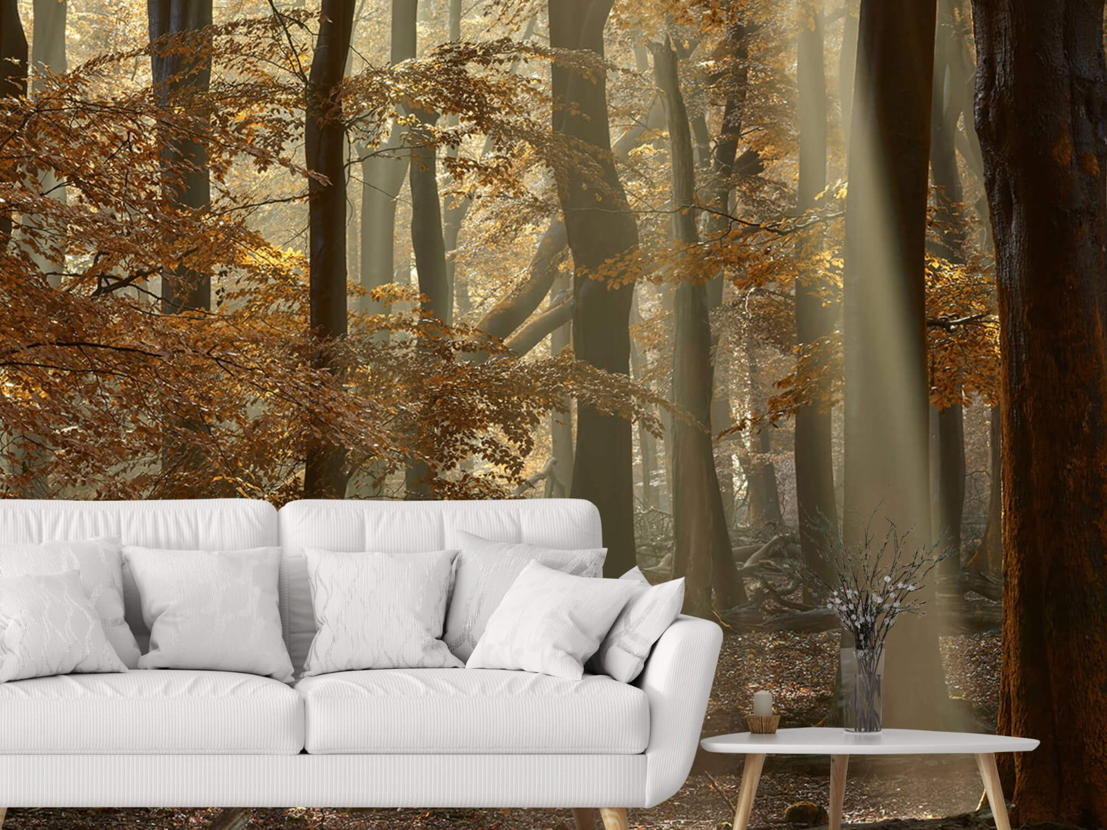 Bos behang - Herfstkleuren in het bos - Slaapkamer 6