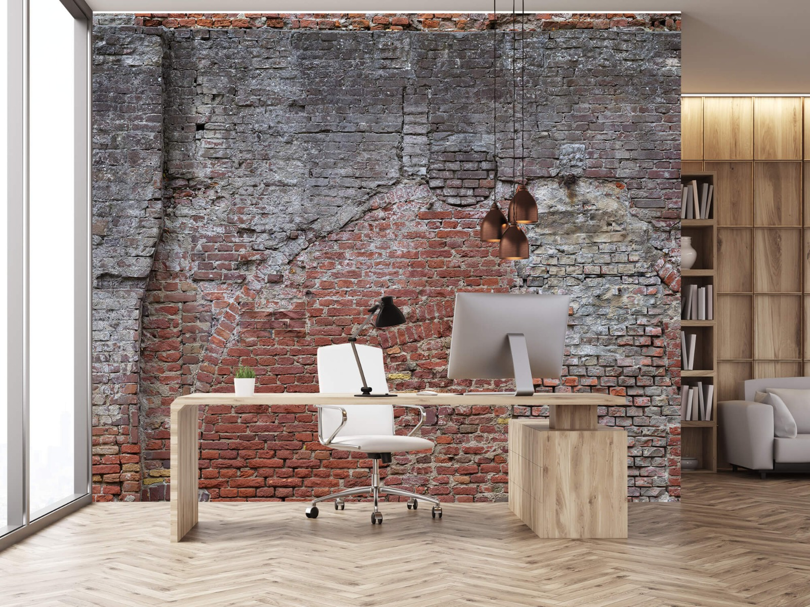 Steen behang - Oude herstelde stadsmuur - Tienerkamer 23
