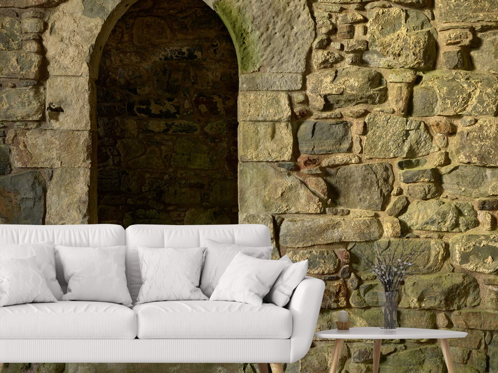 Steen behang - Oude muur met doorgang - Slaapkamer 3
