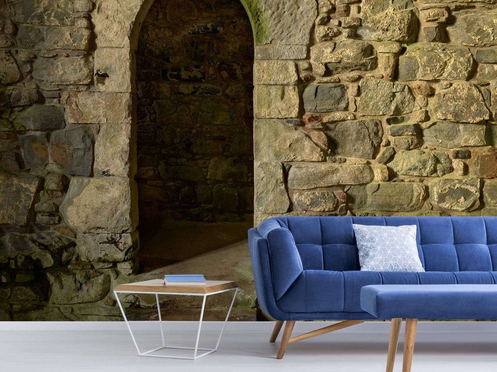 Steen behang - Oude muur met doorgang - Slaapkamer 5