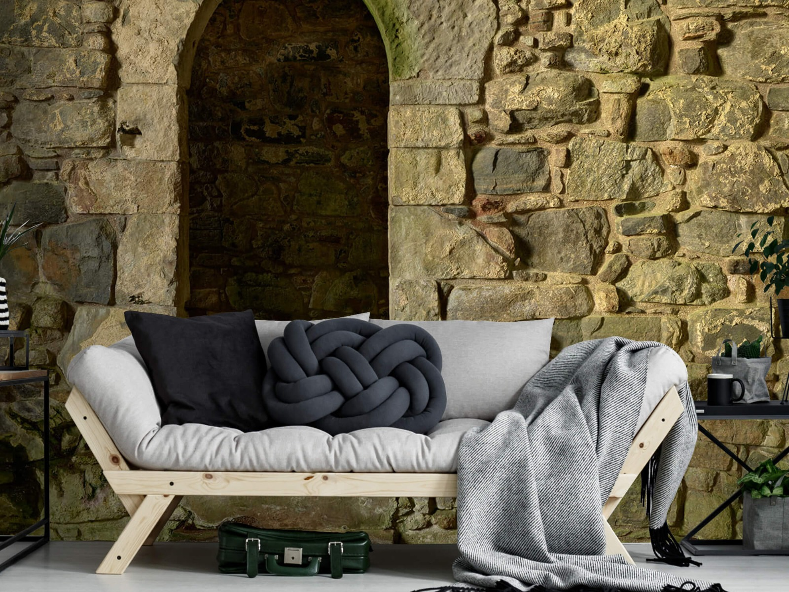 Steen behang - Oude muur met doorgang - Slaapkamer 7