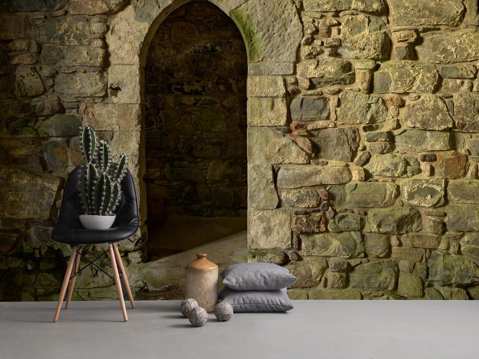 Steen behang - Oude muur met doorgang - Slaapkamer 1
