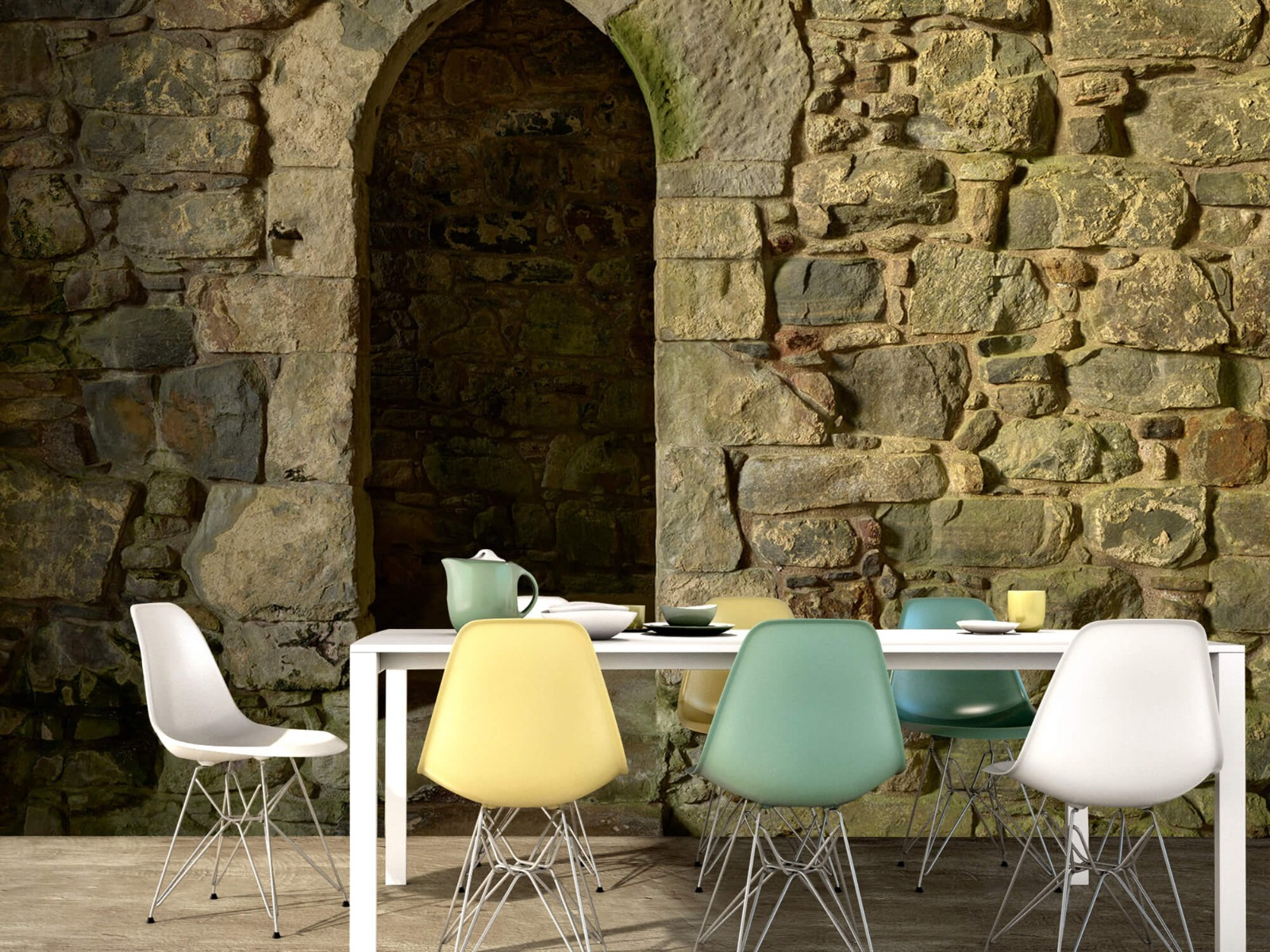 Steen behang - Oude muur met doorgang - Slaapkamer 15