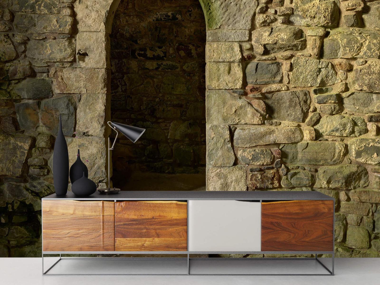Steen behang - Oude muur met doorgang - Slaapkamer 16