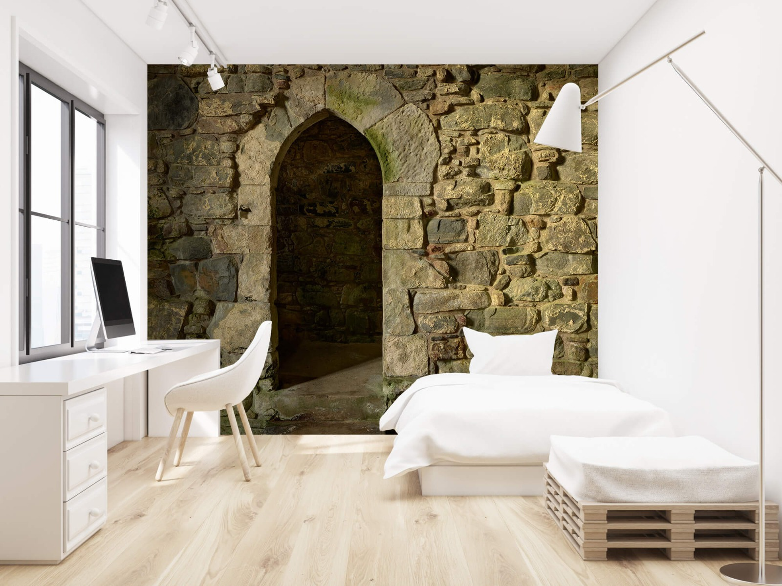Steen behang - Oude muur met doorgang - Slaapkamer 22