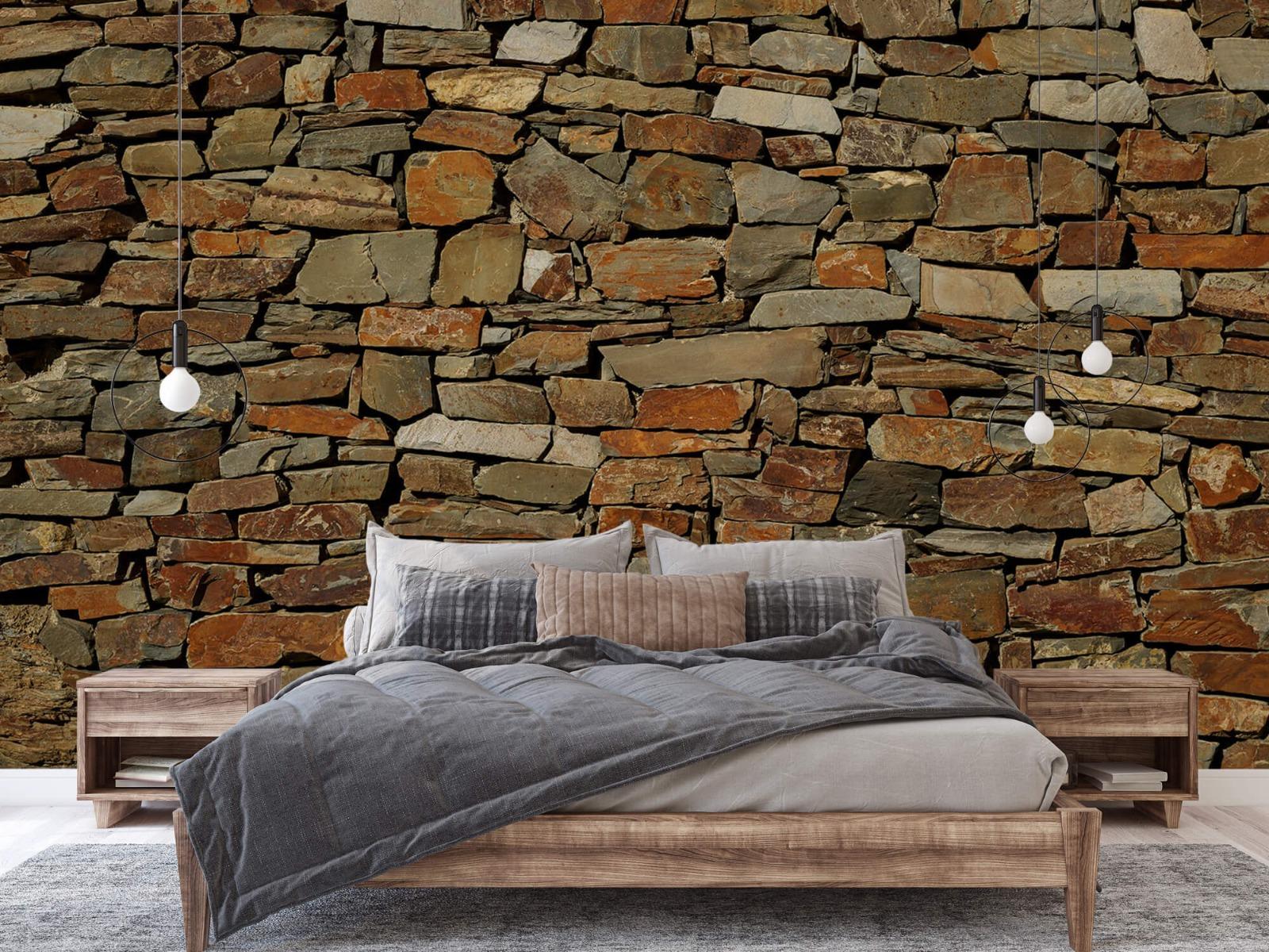 Steen behang - Muur van ongelijke stenen - Slaapkamer 1