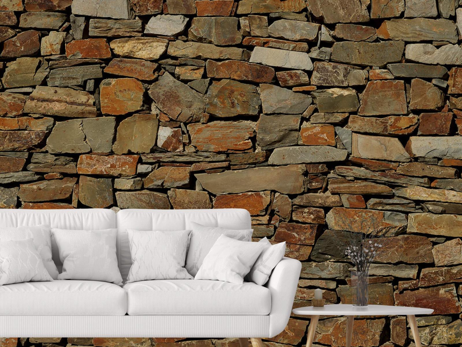 Steen behang - Muur van ongelijke stenen - Slaapkamer 2