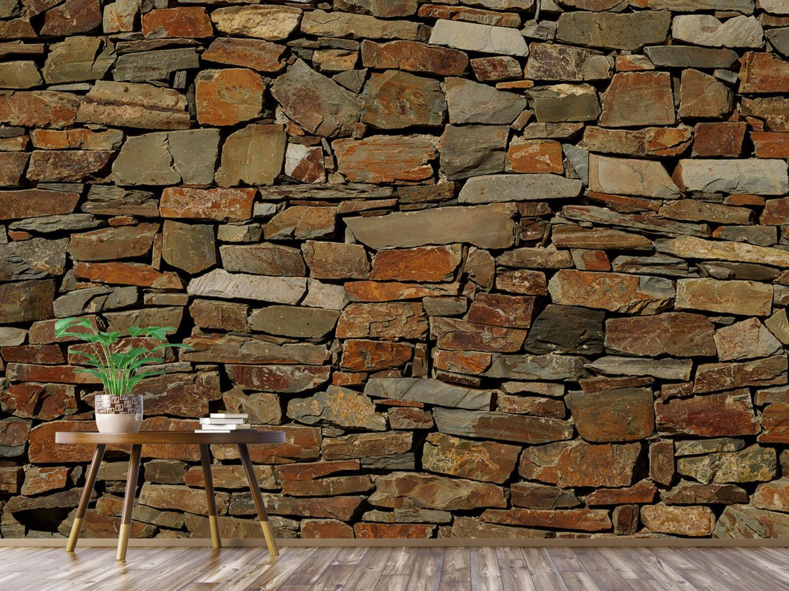 Steen behang - Muur van ongelijke stenen - Slaapkamer 3