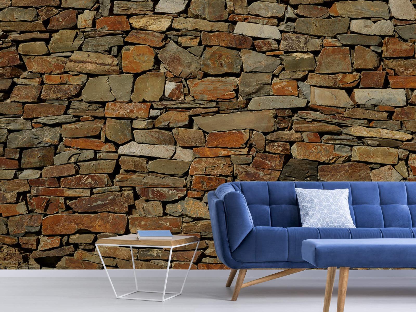 Steen behang - Muur van ongelijke stenen - Slaapkamer 4