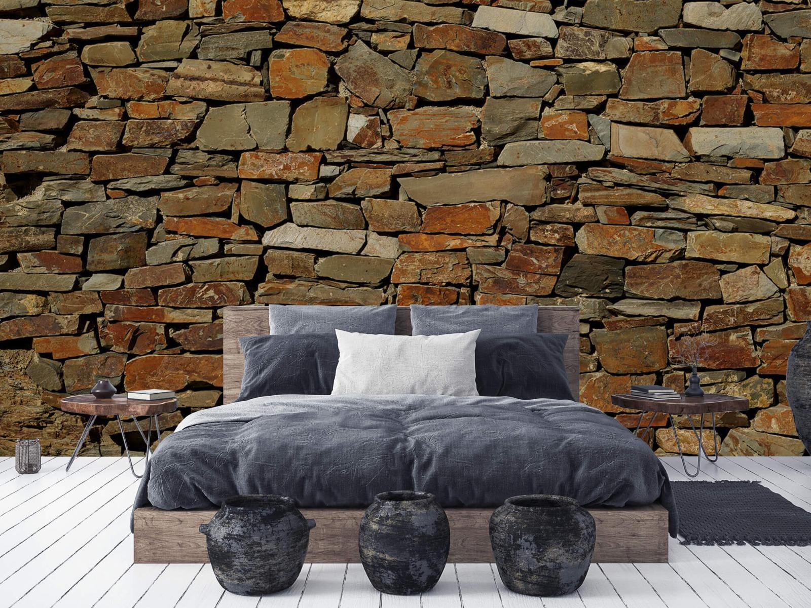Steen behang - Muur van ongelijke stenen - Slaapkamer 5