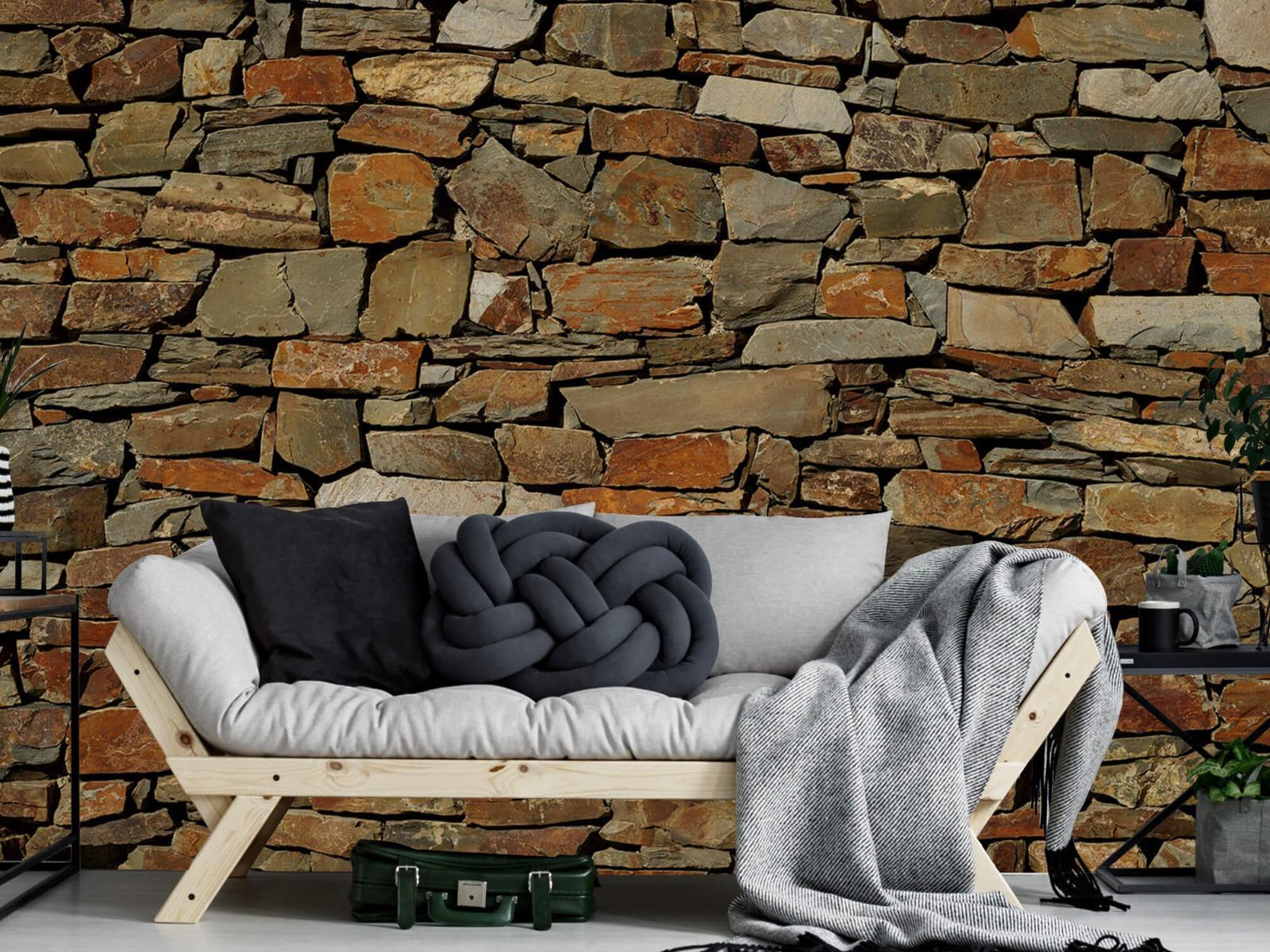 Steen behang - Muur van ongelijke stenen - Slaapkamer 6