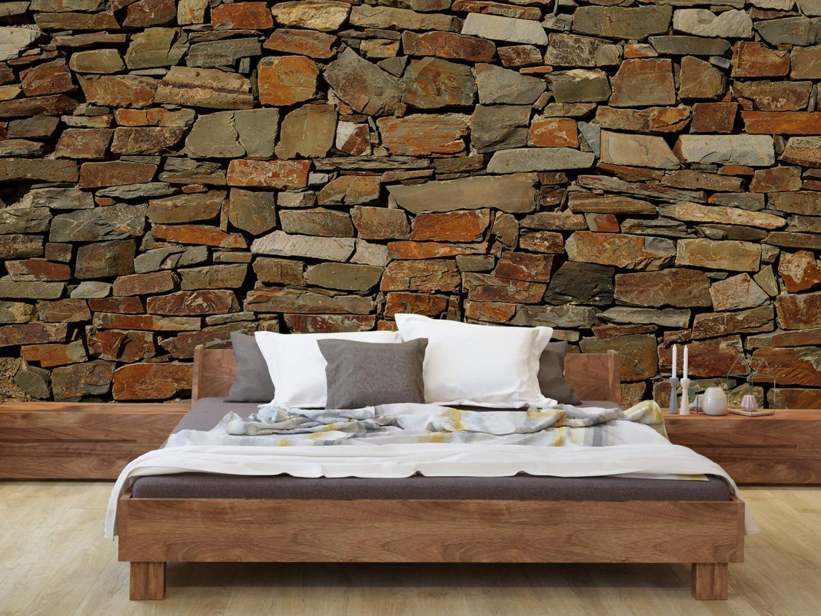 Steen behang - Muur van ongelijke stenen - Slaapkamer 7