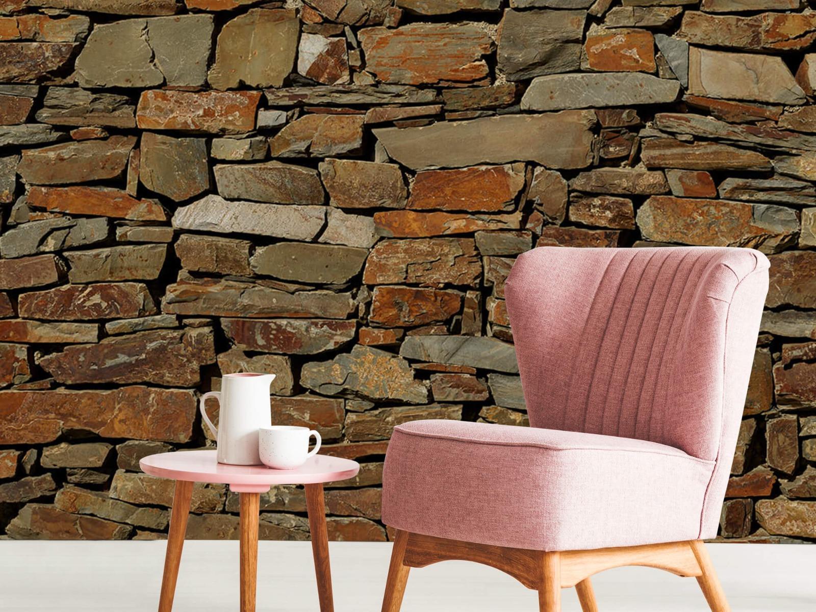 Steen behang - Muur van ongelijke stenen - Slaapkamer 8