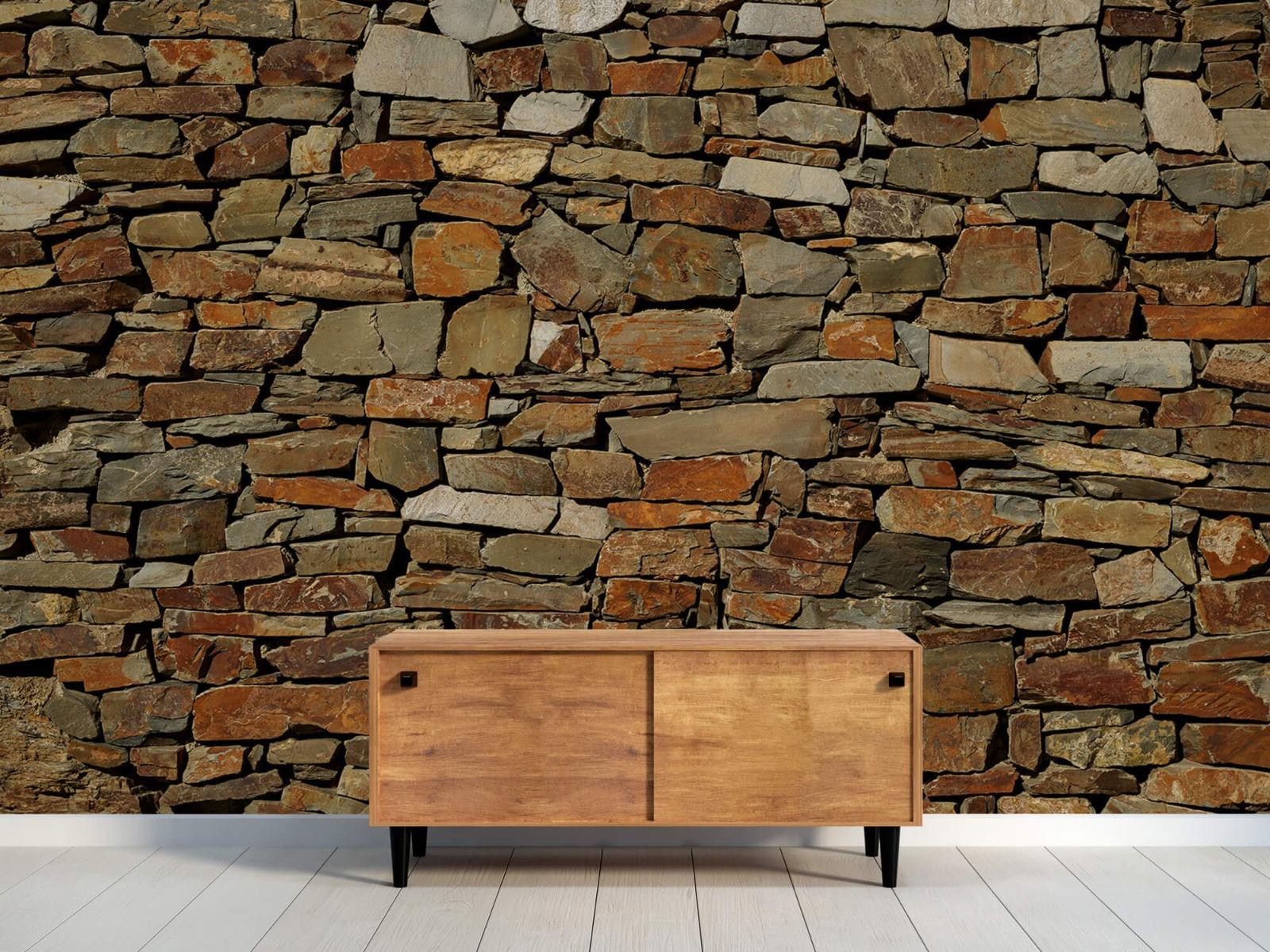 Steen behang - Muur van ongelijke stenen - Slaapkamer 9