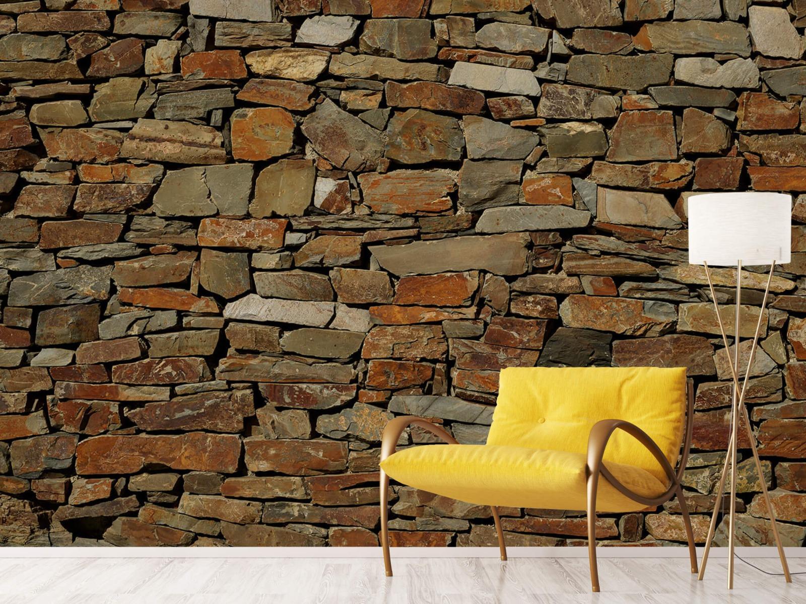 Steen behang - Muur van ongelijke stenen - Slaapkamer 10