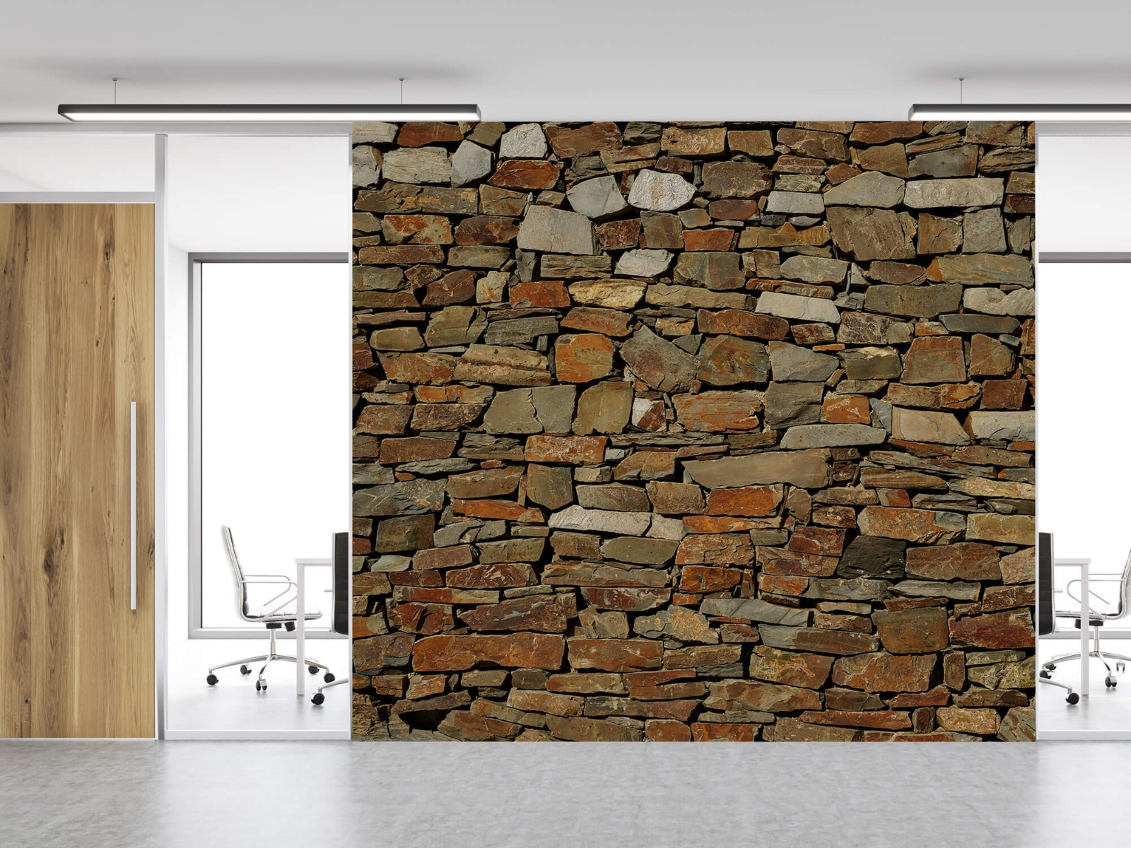 Steen behang - Muur van ongelijke stenen - Slaapkamer 11