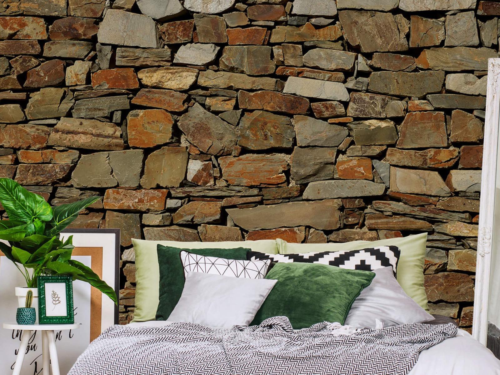 Steen behang - Muur van ongelijke stenen - Slaapkamer 12