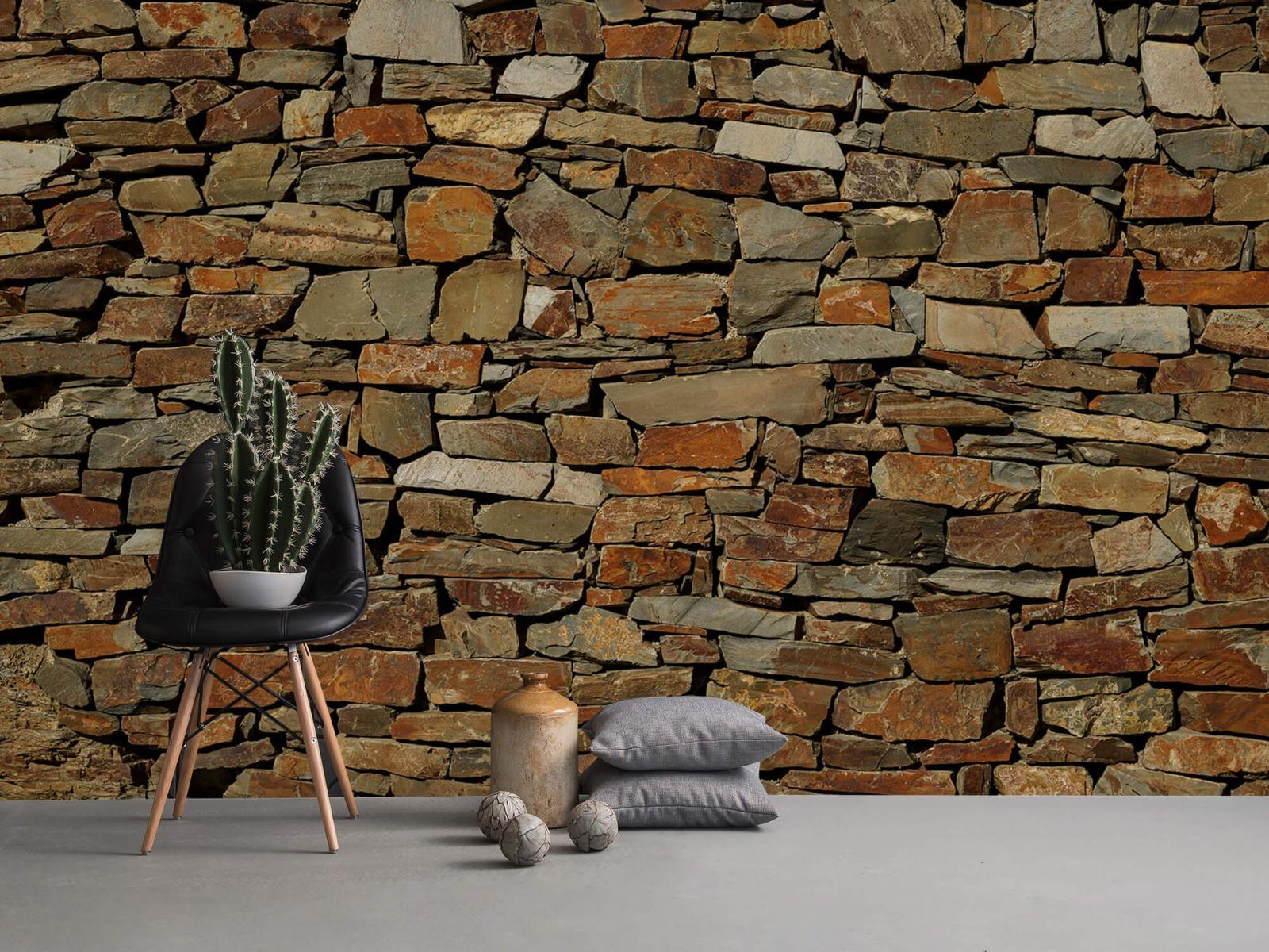 Steen behang - Muur van ongelijke stenen - Slaapkamer 13