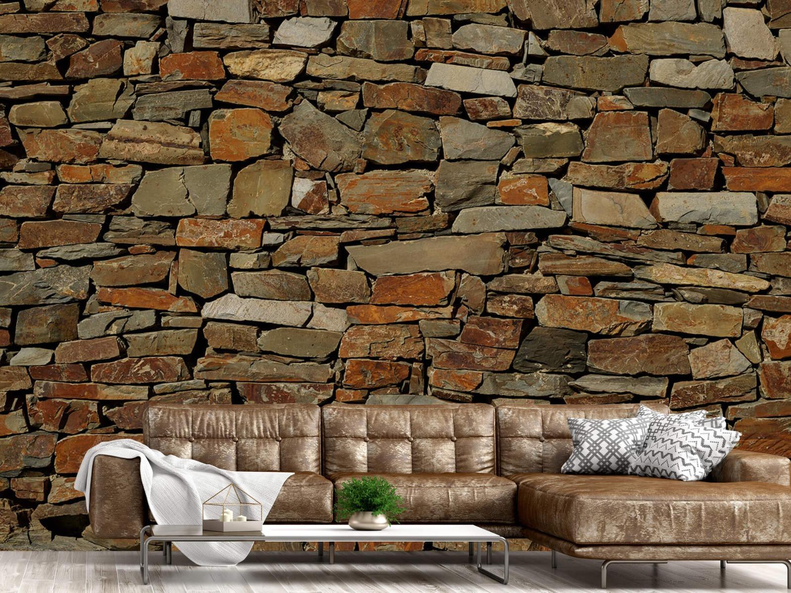 Steen behang - Muur van ongelijke stenen - Slaapkamer 14