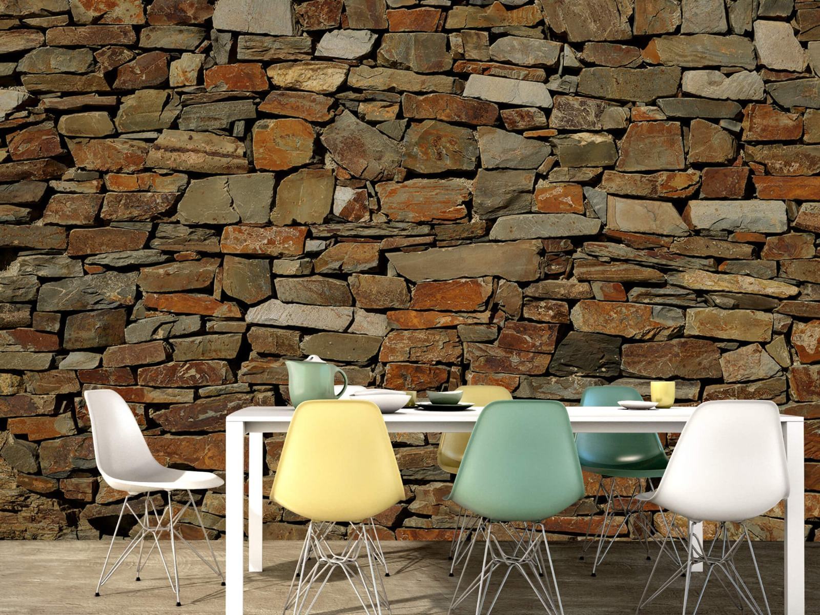 Steen behang - Muur van ongelijke stenen - Slaapkamer 15
