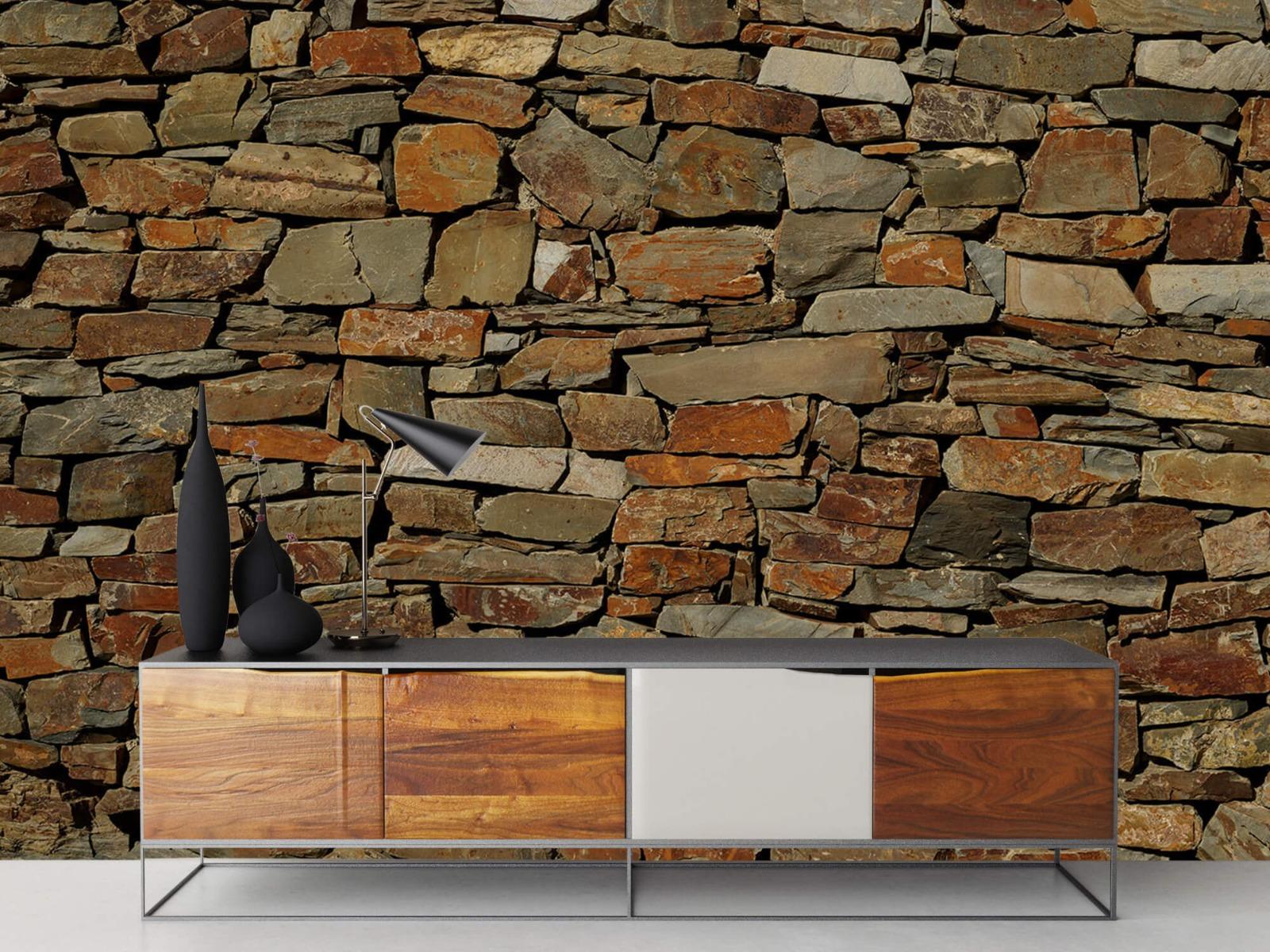 Steen behang - Muur van ongelijke stenen - Slaapkamer 16